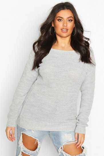 Womens Silver Plus Slash Neck Fisherman Jumper