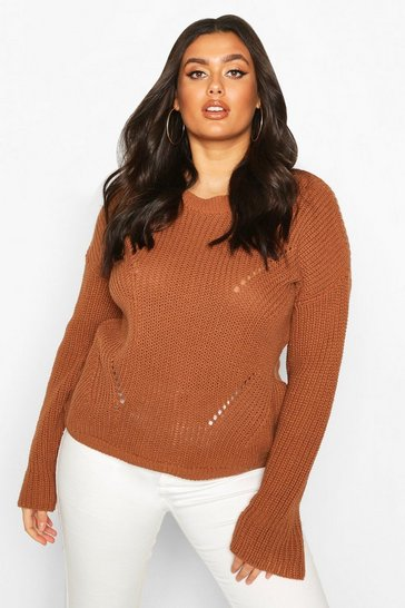 Biscuit Plus Cuff Detail Fisherman Knit Jumper