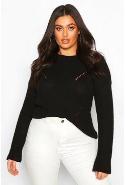 Plus Cuff Detail Fisherman Knit Jumper, Black, FEMMES