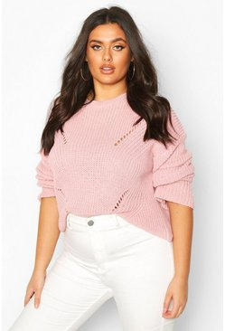 Plus Cuff Detail Fisherman Knit Jumper, Pastel pink