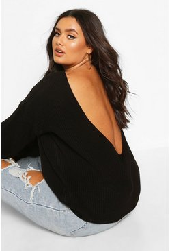 Plus V-Back Oversized Jumper, Black