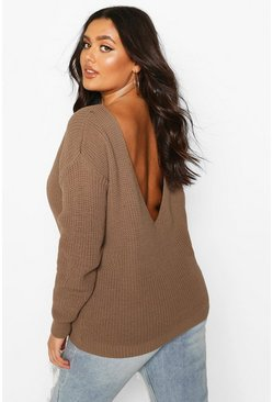 Plus V-Back Oversized Jumper, Mocha