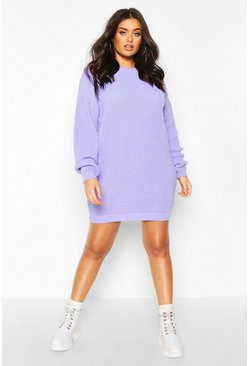Plus Crew Neck Jumper Dress, Lilac, FEMMES