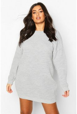 Plus Crew Neck Jumper Dress, Silver