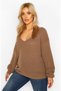 Womens Mocha Plus Oversized V-Neck Jumper
