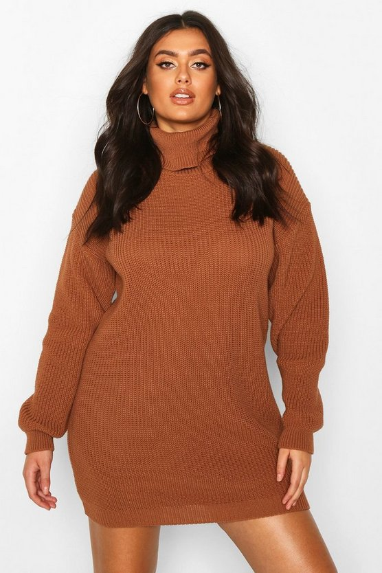 Biscuit Plus Roll Neck Jumper Dress