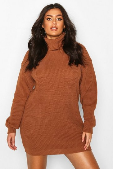 Womens Biscuit Plus Roll Neck Jumper Dress