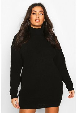 Plus Roll Neck Jumper Dress, Black, FEMMES