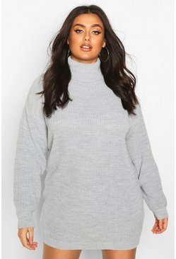Plus Roll Neck Jumper Dress, Silver, FEMMES