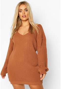 Plus V-Neck Jumper Mini Dress, Biscuit
