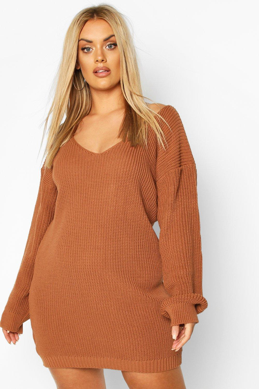 Plus V-Neck Jumper Mini Dress 2