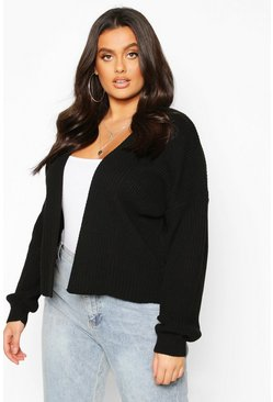Plus Oversized Cropped Cardigan, Black, FEMMES