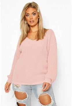Blush Plus Oversized V-Neck Jumper