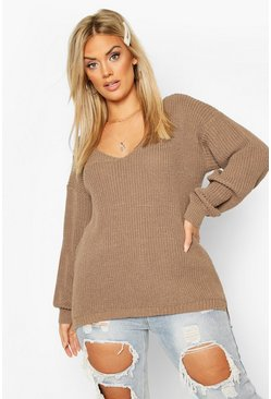 Plus Oversized V-Neck Jumper, Mocha