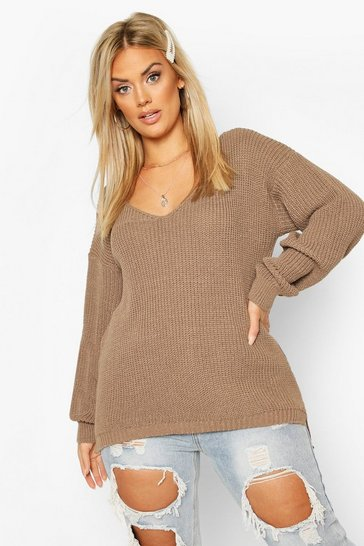 Mocha Plus Oversized V-Neck Jumper