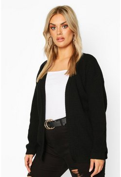 Plus Edge to Edge Waffle Knit Cardigan, Black
