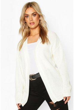 Womens Cream Plus Edge to Edge Waffle Knit Cardigan
