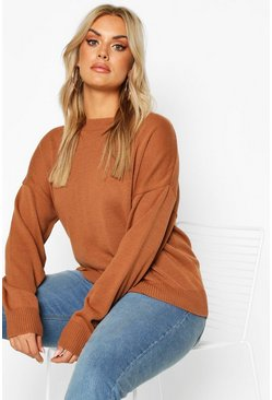 Plus Boxy Crew Neck Jumper, Biscuit
