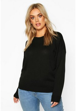 Plus Boxy Crew Neck Jumper, Black