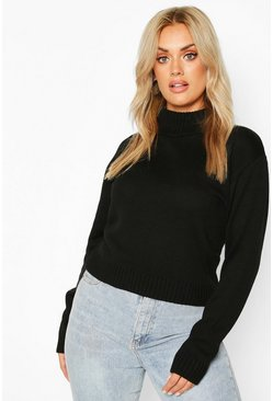 Plus Roll Neck Crop Jumper, Black