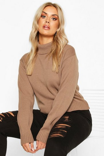 Womens Mocha Plus Roll Neck Crop Jumper