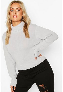 Womens Silver Plus Roll Neck Crop Jumper