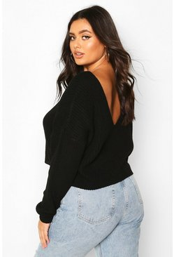 Plus V-Back Crop Jumper, Black