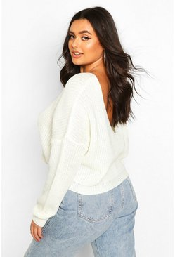 Womens Cream Plus V-Back Crop Jumper