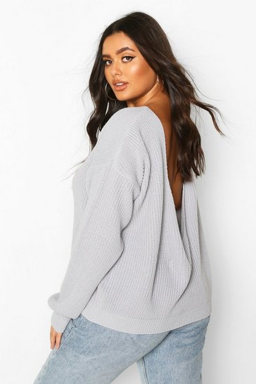 Womens Silver Plus V-Back Oversized Jumper