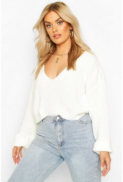 Womens Cream Plus V-Neck Fisherman Crop Jumper
