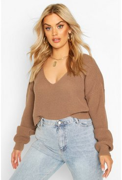 Plus V-Neck Fisherman Crop Jumper, Mocha
