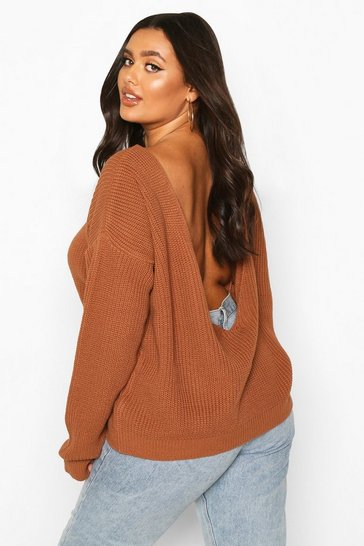 Womens Biscuit Plus V-Back Oversized Jumper