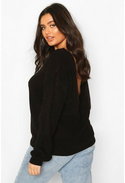 Womens Black Plus V-Back Oversized Jumper