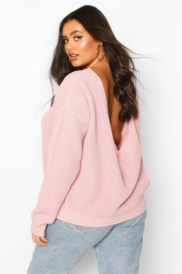 Blush Plus V-Back Oversized Jumper