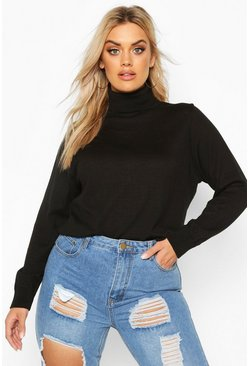 Plus Soft Cotton Roll Neck Jumper, Black, FEMMES