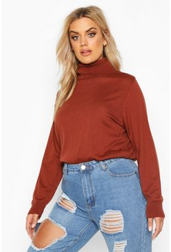 Womens Rust Plus Soft Cotton Roll Neck Jumper