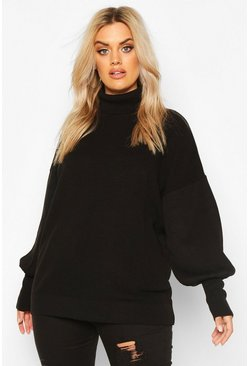 Womens Black Plus Knitted Balloon Sleeve High Neck Jumper
