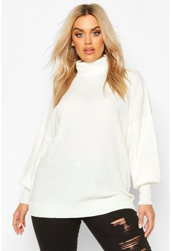 Cream Plus Knitted Balloon Sleeve High Neck Jumper