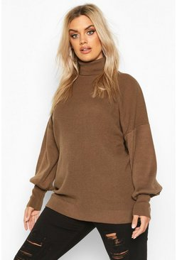 Womens Taupe Plus Knitted Balloon Sleeve High Neck Jumper