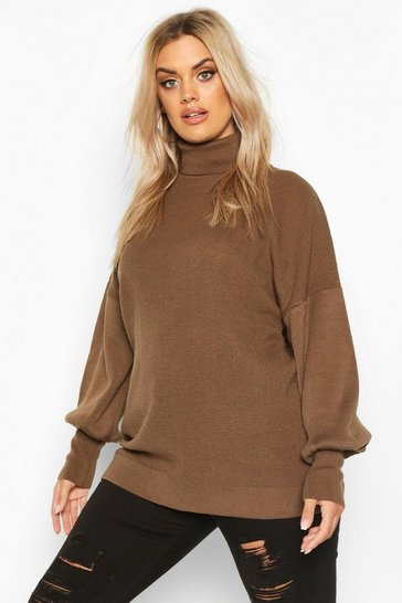 Taupe Plus Knitted Balloon Sleeve High Neck Jumper