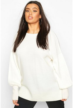 Plus Oversized Balloon Sleeve Jumper, Cream, FEMMES