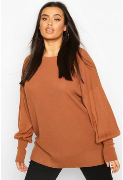 Womens Tobacco Plus Oversized Balloon Sleeve Jumper