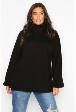 Womens Black Plus Roll Neck Oversized Balloon Sleeve Jumper