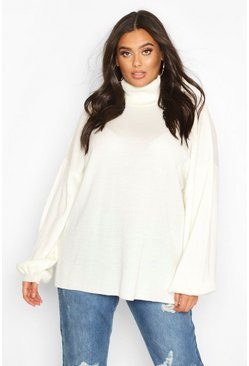 Cream Plus Roll Neck Oversized Balloon Sleeve Jumper