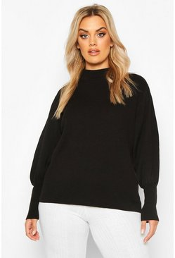 Plus High Neck Oversized Sleeve Jumper, Black