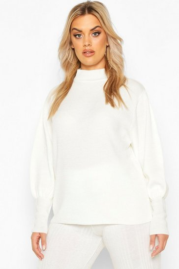 Cream Plus High Neck Oversized Sleeve Jumper