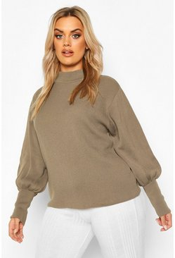 Khaki Plus High Neck Oversized Sleeve Jumper