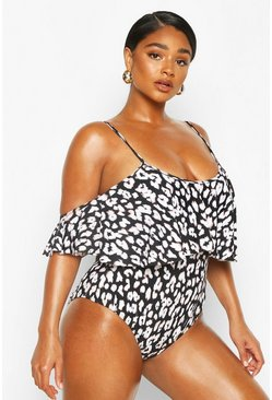 Plus Mono Leopard Drape Sleeve Swimsuit, Black