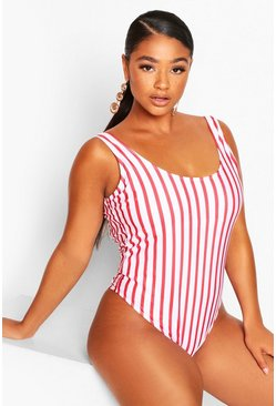 White Plus Pinstripe Scoop Swimsuit