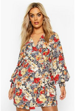 Plus Large Scale Floral Print Belted Wrap Dress, Multi